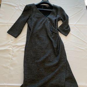brooks brothers wool faux wrap dress